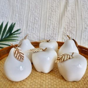 White painted apples and pears art glass